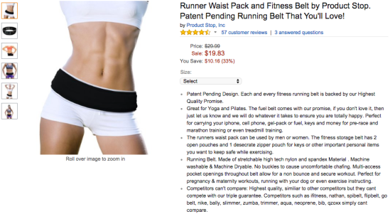The #2 running belt right now, selling 20-50 a day. (April 2015)